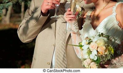 couple, lunettes champagne