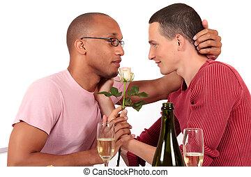 couple mélangé, ethnicité, gay, valentin