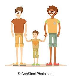 couple, mélangé-race, son., gay, heureux