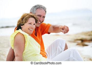 couple, mûrir, heureux