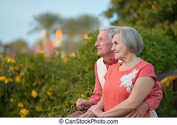 couple, mûrir, promenade