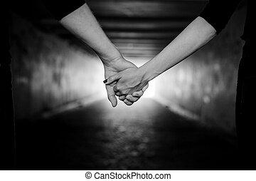 couple, mains, tenue, heureux