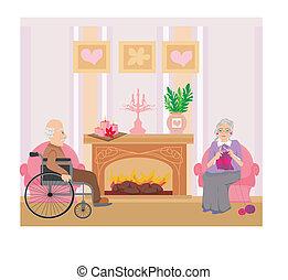 couple, maison, reposer, personne agee