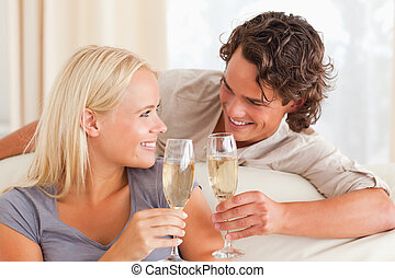 Couple making a toast