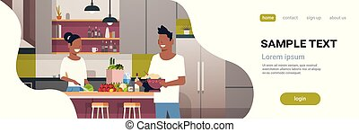couple making dinner happy african american man woman cooking together at home modern kitchen interior male female portrait horizontal copy space flat