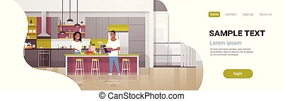 couple making dinner happy african american man woman cooking together at home modern kitchen interior male female full length horizontal copy space flat