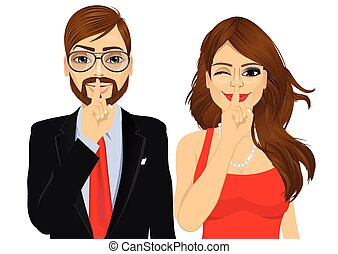 couple making silence or secret hand gesture