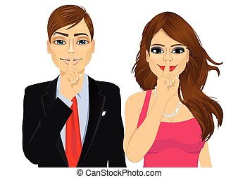 couple making silence or secret hand gesture - portrait of...