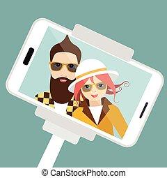 Couple making summer selfie photo. Vector cartoon illustration.