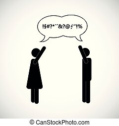 couple man and woman arguing icon pictogram