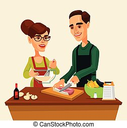 Couple man and woman characters preparing food together. Vector flat cartoon illustration