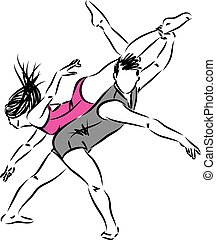 couple man and woman dancers vector illustration
