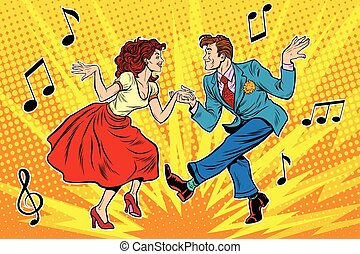 couple man and woman dancing, vintage dance, pop art retro...