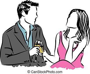 couple man and woman dating illustration