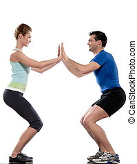 couple, man and woman doing workout on white isolated backgroun