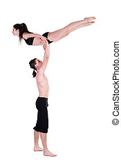 couple man and woman exercising fitness dancing on white background