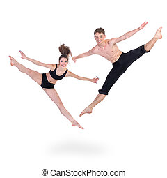couple man and woman exercising fitness jumping on white background