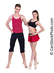 couple man and woman exercising fitness posing on white background