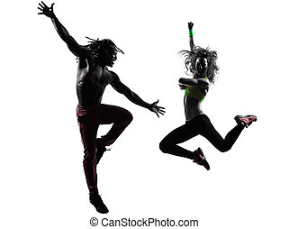 couple man and woman exercising fitness zumba dancing in silhouette on white background