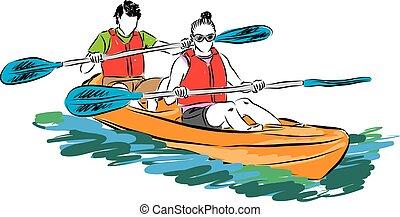 couple man and woman in kayak illus