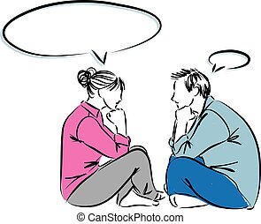 couple man and woman looking and thinking balloon face to face illustration