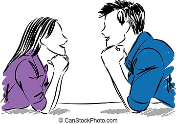 couple man and woman looking each other vector illustration