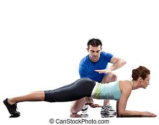 couple, man and woman on Abdominals workout Basic Plank posture on white backgroun