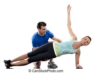 couple, man and woman on Abdominals workout posture on white backgroun