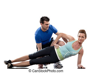 couple, man and woman on Abdominals workout posture on white...