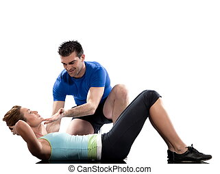 couple, man and woman on floor Abdominals workout posture on...