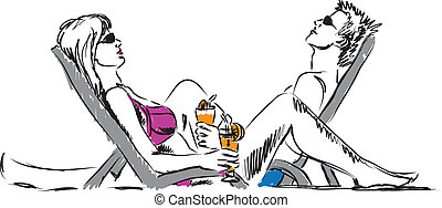 couple man and woman resting at beach with drinks...
