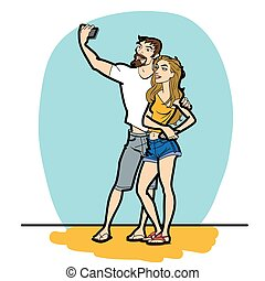 Couple man and woman selfie phone