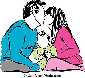 couple man and woman with baby illustration