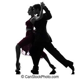 couple man woman ballroom dancers tangoing  silhouette