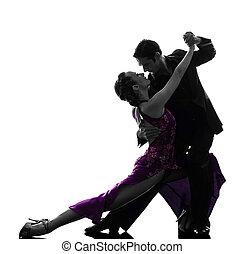 couple man woman ballroom dancers tangoing silhouette - one...