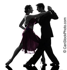 couple man woman ballroom dancers tangoing silhouette - one...