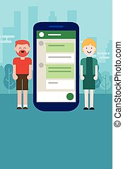 couple man woman chat on mobile device smart-phone long distance relationship