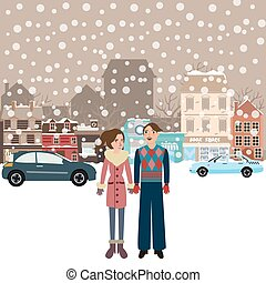 couple man woman male female standing in snow falling winter...