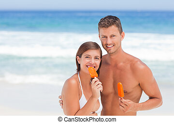 couple, manger, glace