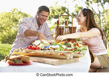 couple, manger, une, fresque al, repas