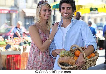 couple, marché