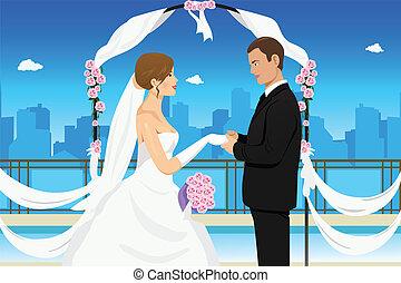 couple, mariés, jeune