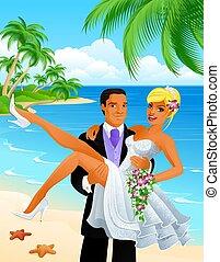 couple, mariés, juste