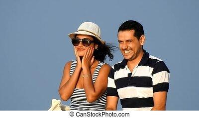 couple, mariés, vacances, heureux