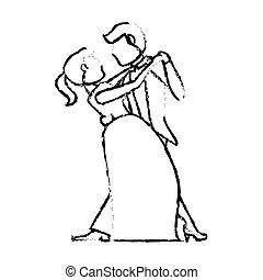 couple, mariage, croquis, danse