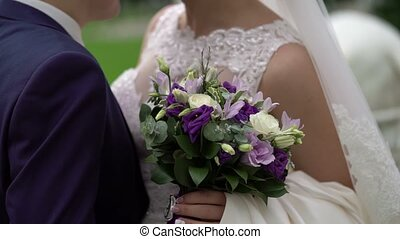 couple, mariage, embrasser