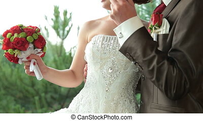 couple, mariage, pluie, sous