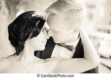 couple, mariage, tendre, closeup., jour, aimer