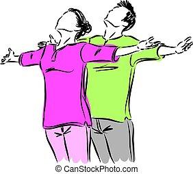 couple meditation breathing vector illustration