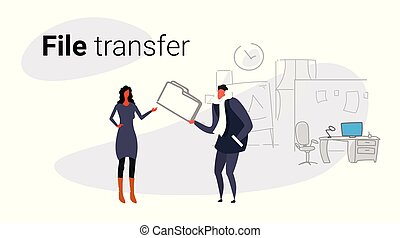 couple meeting in co-working private data sharing businessman giving confidential documents folder to businesswoman file transfer concept sketch doodle horizontal